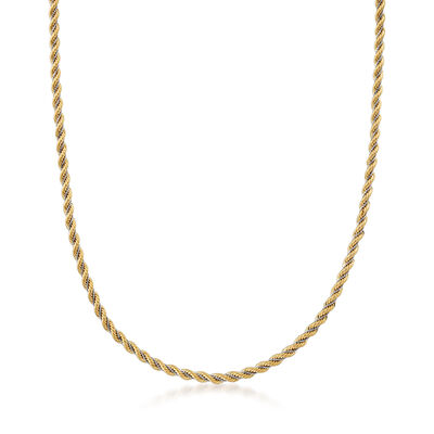 Italian 14kt Two-Tone Gold Rope and Box Chain, , default