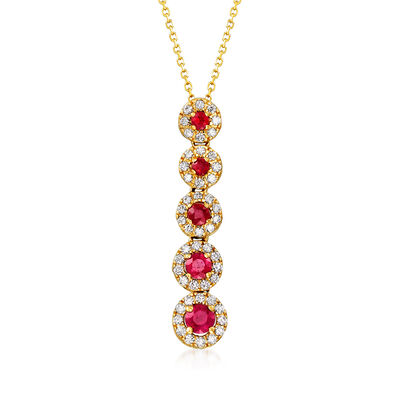 C. 1990 Vintage .45 ct. t.w. Ruby and .30 ct. t.w. Diamond Drop Necklace in 18kt Yellow Gold