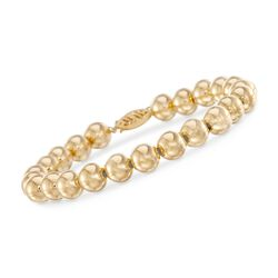 "8mm 14kt Yellow Gold Bead Bracelet. 7.5"", , default"