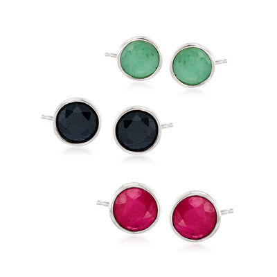 3.60 ct. t.w. Multi-Gem Jewelry Set: Three Pairs of Earrings in Sterling Silver, , default