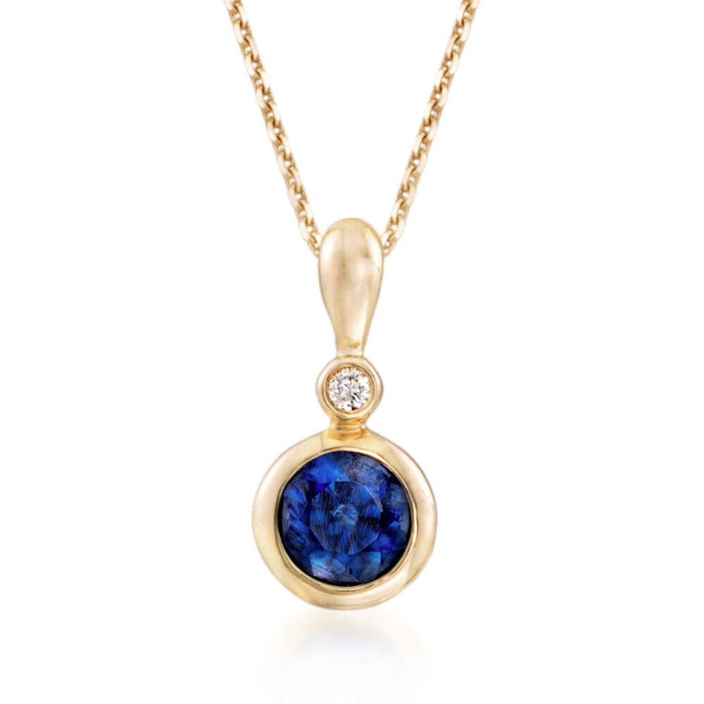 30 carat bezel set sapphire pendant necklace with diamond accent in 30 carat bezel set sapphire pendant necklace with diamond accent in 14kt yellow gold aloadofball Image collections