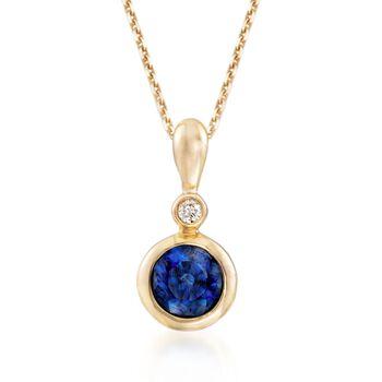 ".30 Carat Bezel-Set Sapphire Pendant Necklace With Diamond Accent in 14kt Yellow Gold. 16"", , default"