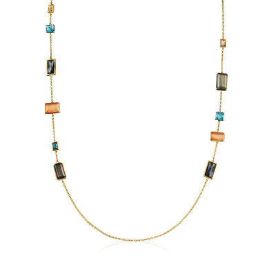 "C. 2000 Vintage Ippolita ""Rock Candy"" Multi-Gemstone Necklace in 18kt Yellow Gold, , default"