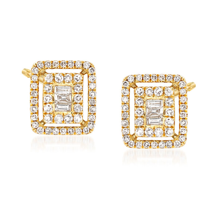 .40 ct. t.w. Baguette and Round Diamond Earrings in 18kt Yellow Gold, , default