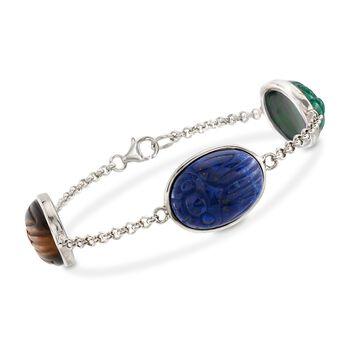 "Multi-Stone Scarab Station Bracelet in Sterling Silver. 7"", , default"