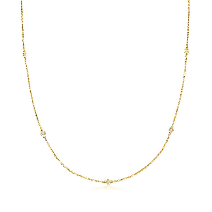 .25 ct. t.w. Bezel-Set Diamond Station Necklace in 18kt Gold Over Sterling
