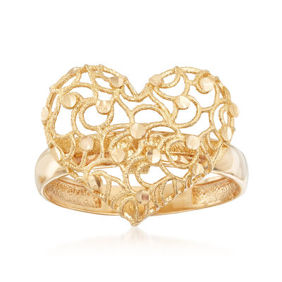 Italian 18kt Yellow Gold Filigree Heart Ring, , default