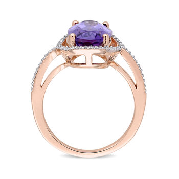 3.75 Carat Amethyst and .19 ct. t.w. Diamond Ring in 14kt Rose Gold, , default