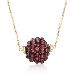"7.25 ct. t.w. Garnet Bead Cluster Necklace in 14kt Yellow Gold. 18"", , default"