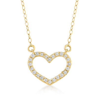 .20 ct. t.w. CZ Heart Necklace in 14kt Yellow Gold
