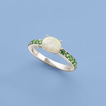 Ethiopian Opal and .50 ct. t.w. Diopside Ring in Sterling Silver