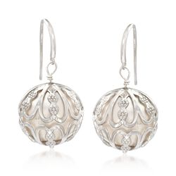 14-15mm Cultured Pearl Caged Drop Earrings in Sterling Silver, , default