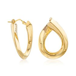 "Italian 14kt Yellow Gold Swirl Hoop Earrings. 1""., , default"