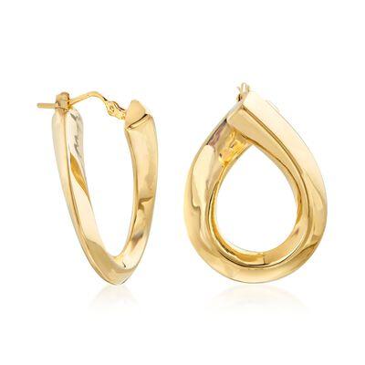Italian 14kt Yellow Gold Swirl Hoop Earrings , , default
