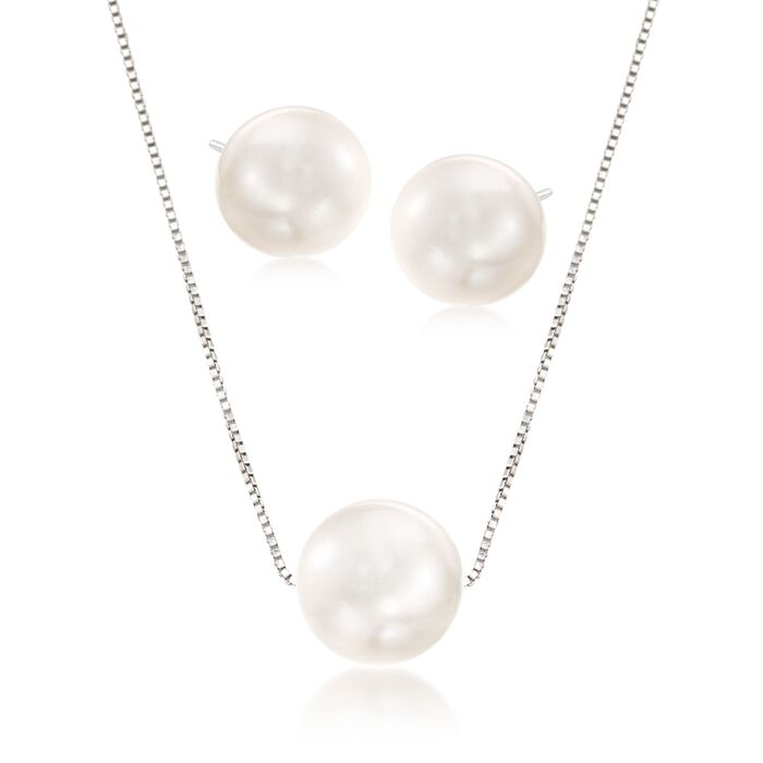 11-12mm Cultured Pearl Jewelry Set: Necklace and Stud Earrings in Sterling Silver, , default