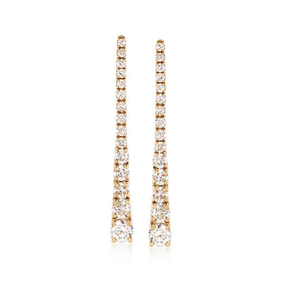 .32 ct. t.w. Diamond Triangle Drop Earrings in 14kt Yellow Gold , , default