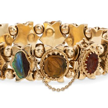 """C. 1960 Vintage Carved Cameo Multi-Stone Charm Bracelet in 14kt Yellow Gold. 7"""""""