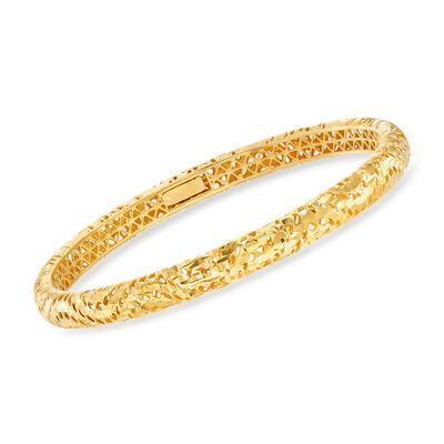 Italian 18kt Gold Over Sterling Textured and Polished Bangle Bracelet