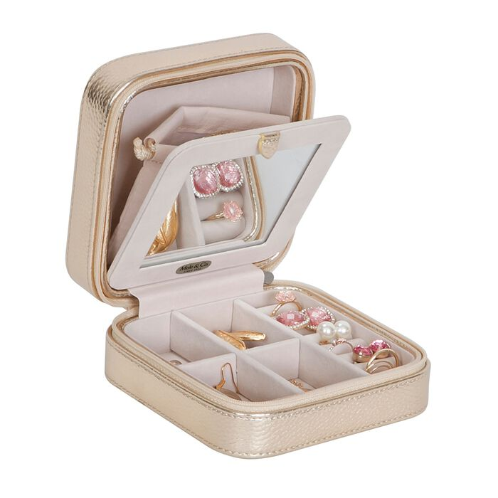 Mele & Co. Metallic Gold Faux Leather Travel Jewelry Box