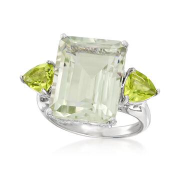 11.00 Carat Emerald-Cut Green Prasiolite and 1.40 ct. t.w. Peridot Ring in Sterling Silver, , default