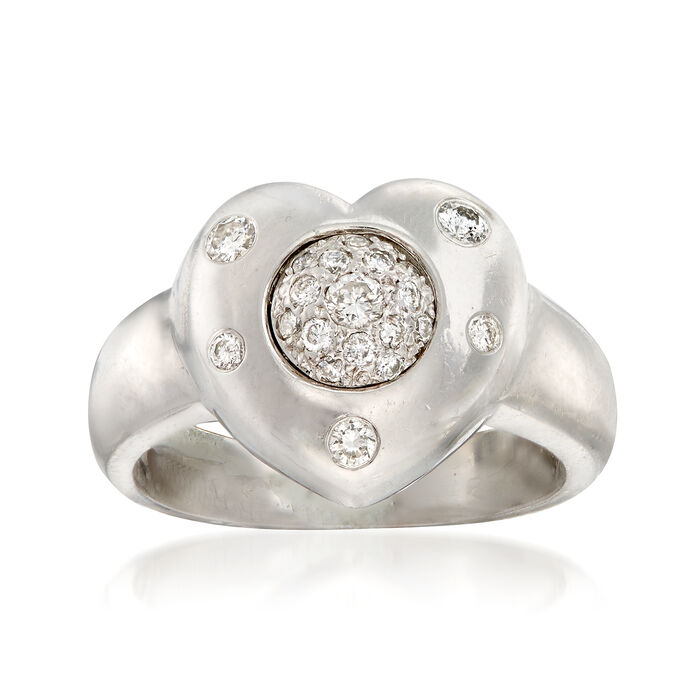 C. 1980 Vintage .35 ct. t.w. Diamond Heart Ring in 14kt White Gold. Size 6.5, , default