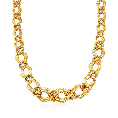 Italian 14kt Yellow Gold Graduated Link Necklace