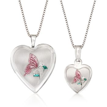 """Sterling Silver Mother/Daughter Jewelry Set: Two Butterfly Heart Locket Necklaces With Enamel. 14""""-18"""", , default"""