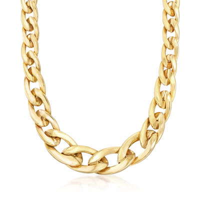 Italian 14kt Yellow Gold Graduated Oval-Link Necklace, , default