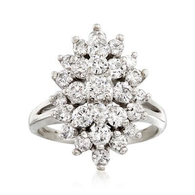 C. 1970 Vintage 2.00 ct. t.w. Diamond Cluster Ring in 14kt White Gold