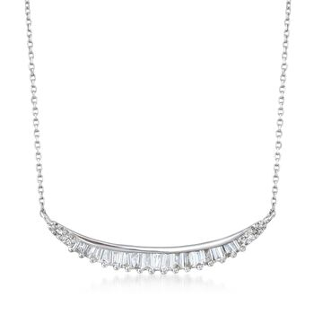 .31 ct. t.w. Diamond Curved Bar Necklace in 14kt White Gold. 180, , default