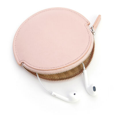 Royce Blush Pink Leather Circular Earbud Case  , , default
