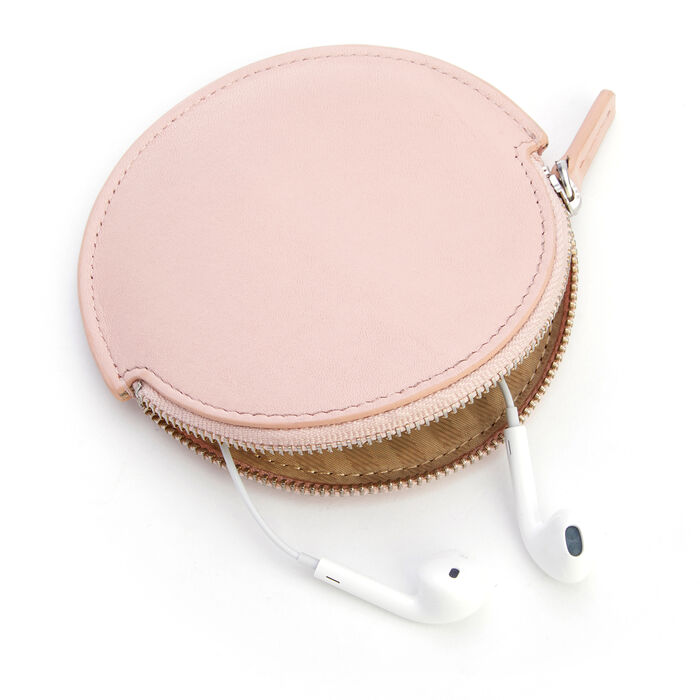 Royce Blush Pink Leather Circular Earbud Case, , default