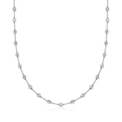 3.00 ct. t.w. Bezel-Set Diamond Station Necklace in 14kt White Gold, , default