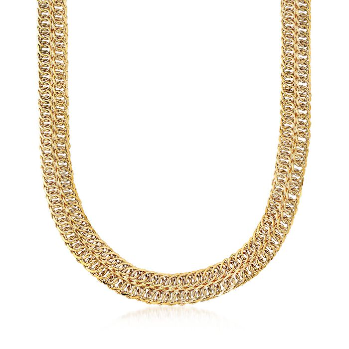"14kt Yellow Gold Double-Row Curb-Link Necklace. 20"", , default"