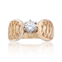 C. 1970 Vintage .45 Carat Diamond Openwork Ring in 14kt Yellow Gold. Size 6, , default