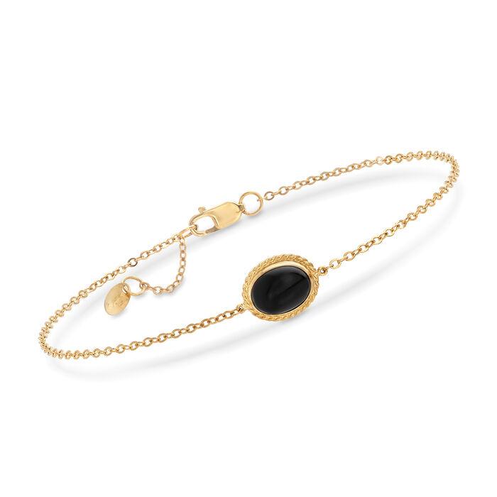 "14kt Yellow Gold and Black Onyx Bracelet. 7"", , default"