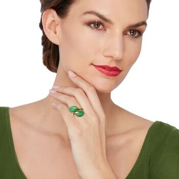 Jade Leaf Bypass Ring in 14kt Yellow Gold