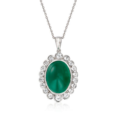Green Chalcedony and 2.50 ct. t.w. White Topaz Pendant Necklace in Sterling Silver