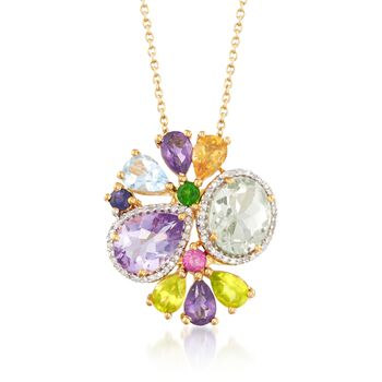 6.85 ct. t.w. Multi-Stone Pendant Necklace With .19 ct. t.w. Diamonds in 18kt Yellow Gold Over Sterling Silver. 180, , default