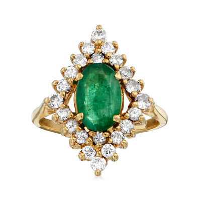 C. 1980 Vintage 1.40 Carat Emerald and .75 ct. t.w. Diamond Frame Ring in 14kt Yellow Gold, , default