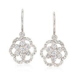 """Kwiat """"Oasis"""" .68 ct. t.w. Diamond Open Flower Drop Earrings in 18kt White Gold , , default"""
