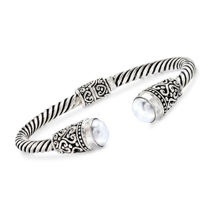 Balinese 10-10.5mm White Cultured Pearl Cuff Bracelet in Sterling Silver. 7.5""