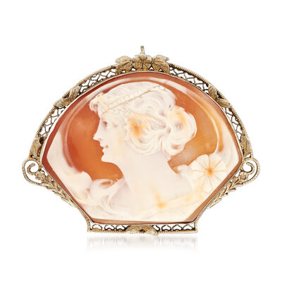C. 1960 Vintage Pink Shell Cameo Pin/Pendant in 14kt White Gold