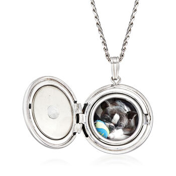 """In Loving Memory"" Paw Print Pet Memorial and Photo Locket Pendant Necklace in Sterling Silver, , default"