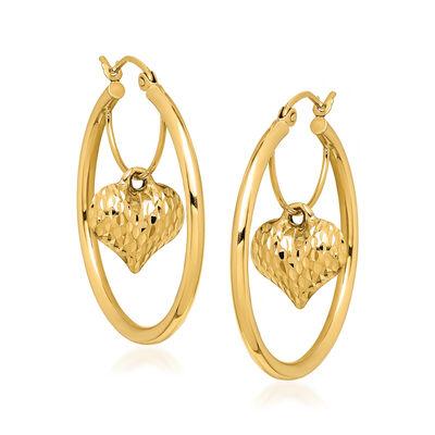 14kt Yellow Gold Heart Dangle Hoop Earrings