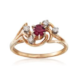 C. 1970 Vintage .35 Carat Ruby and .20 ct. t.w. Diamond Swirl Ring in 14kt Yellow Gold. Size 8.25, , default
