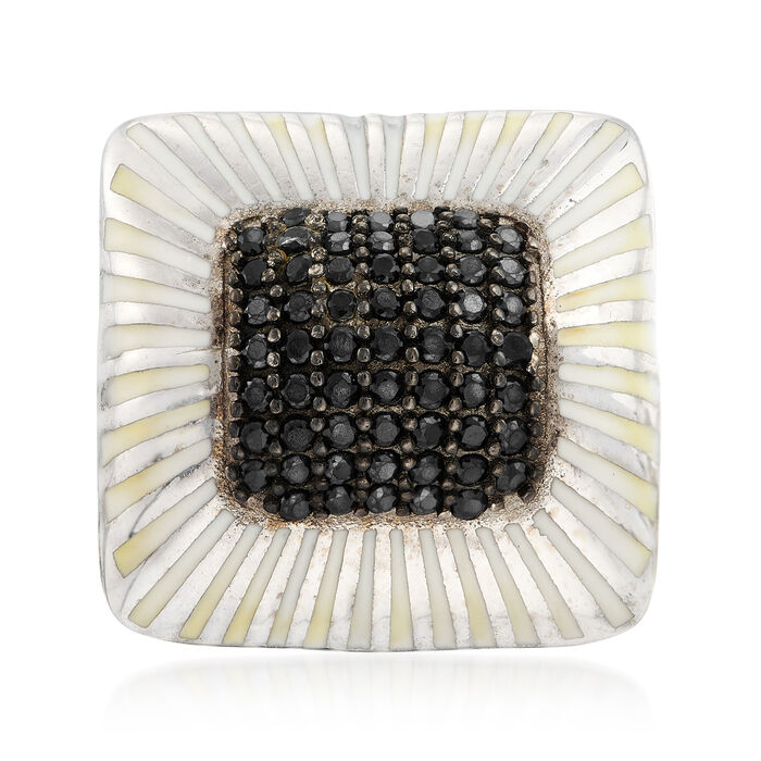 1.30 ct. t.w. Black Spinel and White Enamel Ring in Sterling Silver, , default