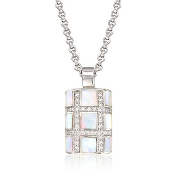"""Belle Etoile """"Regal"""" Mother-Of Pearl and .30 ct. t.w. CZ Pendant in Sterling Silver, , default"""