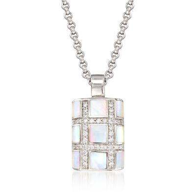 "Belle Etoile ""Regal"" Mother-Of Pearl and .30 ct. t.w. CZ Pendant in Sterling Silver, , default"