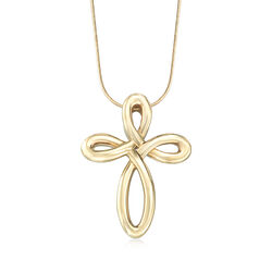 14kt Yellow Gold Cross Pendant , , default